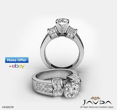 Round Brilliant Diamond Engagement Ring GIA F VS1 Clarity 14k White Gold 3.46ct