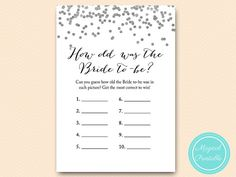 Silver Bridal Shower Games How Old Was The Bride To Be Guess Age Game Foil Bs149