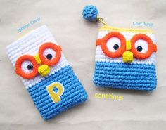 crochet PORORO iphone cover for 4,4s,5 and Coin purse