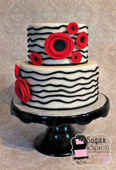 Red and Black Poppy cake Pretty Cakes, Cute Cakes, Beautiful Cakes, Amazing Cakes, 40th Birthday Cakes, Birthday Cakes For Women, Poppy Cake, Cake Works, Dream Cake
