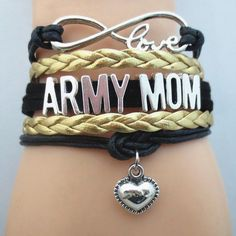 Infinity Love Army  Mom Mom Bracelet - FREE SHIPPING - Hand Made Leather Strap…