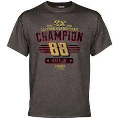 Dale Earnhardt Jr. 2014 Daytona 500 Champion Win T-Shirt - Gray