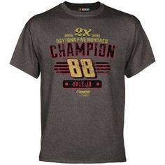Dale Earnhardt Jr. 2014 Daytona 500 Champion Win T-Shirt - Gray