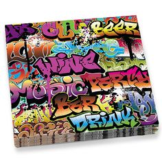Graffiti Beverage Napkins- Don't let the drips fool you, these Graffiti Beverage Napkins are very absorbant. They are and contain 20 per pack. 80s Birthday Parties, Birthday Party Themes, 40th Birthday, Birthday Ideas, Skate Party, Dj Party, Retro Party, Neon Party, Party Time