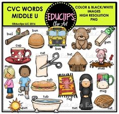 This is a collection of CVC Middle U Words.The images in this collection are: bud, bun, bus, cub, gum, mud, mug, nut, nun, tub, sun, mum, run, cup, cup, hut, rug, sub, cut.This set is also available as part of the CVC WORDS CLIP ART MEGA BUNDLE Please note: the words shown on the product page are not included in the download.