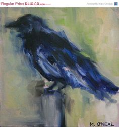 ON SALE Original oil painting of a Crow by by meredithonealART, $93.50
