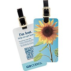 GoCodes Smart QR Code Luggage Tag - Summer Sunflower - eBags.com #madeintheusa  #travel