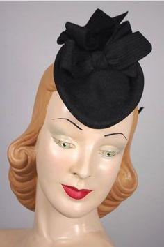 1940s forward tilt black felt bows doll hat LH172