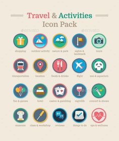 Travel & #Activities Icon Pack - #Icons Download here:  https://graphicriver.net/item/travel-activities-icon-pack/19554601?ref=alena994