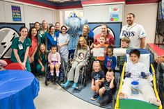 Tampa Bay Rays catcher Rene Rivera and Raymond dropped by the TGH Children's Medical Center to visit our kids. Smiles all around! #RaysUp