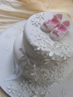 christening cake, baby shower, take the baby shoes off and wedding or bridal shower cake. Baby Cakes, Baby Shower Cakes, Girl Cakes, Cupcake Cakes, Pretty Cakes, Beautiful Cakes, Cake Pictures, Occasion Cakes, Cake Creations