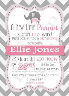 Printable baby shower invitation a little peanut is on the way elephant baby shower invitation with gray chevron back chevron with pink and grey accents printable personalized a 00017 b filmwisefo
