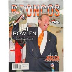 Denver Broncos Official 2013 Yearbook $9.95. Jam-packed with everything a die-hard Broncos fan needs and wants to know about Denver football, the 2013 yearbook is an in-depth look at the latest season of your favorite team's football program! This 128-page book showcases their current roster, coaching staff, support staff, 2012 highlights, and previews the 2013 season. It's the perfect way to stoke your anticipation of Denver's latest football season.
