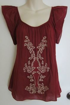 Matty M Anthropologie Top Embroidered India Bohemian Boho Flowy Romantic Red M | eBay $9.99