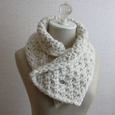 "A cozy, chunky, super soft and fun to knit neckwarmer knitting pattern from Phydeaux Designs: ""Neige"" (snow) - perfect for winter, both to give and to keep!"