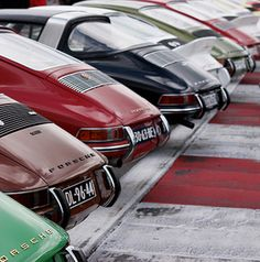 Vintage Porsches all lined up.