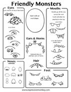 Draw a Friendly Monster with this free printable from www.ExpressiveMonkey.com  Use it to design a clay monster.  The body can be built with 2 pinch pots.  Attach the teeth before joining them together.