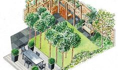 In the final part of our series on the perfect family garden, decking, olive trees and a simple rope swing make for a hassle-free urban plot. Rope Swing, Family Garden, Smart City, Decking, Landscape Architecture, Mail Online, Daily Mail, Sketch, Trees