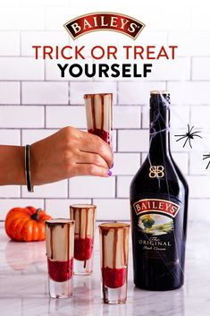 Sink your teeth into a bloody good treat for Halloween! All you need is a little Baileys, sugar, vodka. berries, and chocolate for this spooky treat. Purée 1 cup of raspberries and 2 tbsp sugar together in a blender until smooth. In a shaker with ice, mix 4 oz Baileys and 2 oz vodka for each shot. To assemble, just pour 1-2 teaspoons of raspberry purée into each shot glass, fill the remainder with the Baileys & vodka mix and garnish the edge with chocolate syrup. Halloween Cocktails, Halloween Shots, Halloween Food For Party, Halloween Desserts, Holiday Drinks, Party Drinks, Cocktail Drinks, Halloween Treats, Fun Drinks