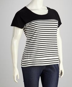 Take a look at this Black & White Stripe Plus-Size Short-Sleeve Top by Joy Mark on #zulily today! $19.99, regular 40.00
