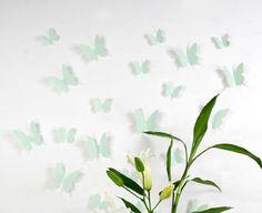 Muursticker losse 3d vlinders (mint)