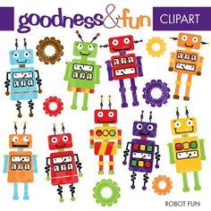 Buy 2 Sets, Get 2 Sets FREE - Digital Clipart - Robot Fun