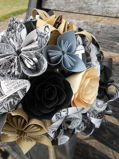 Walking Dead COMIC Paper Flower Bouquets. Bride, Bridesmaid.  Custom Orders Welcome