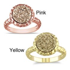 Miadora  Yellow/Rose-Plated Silver Golden Druzy Ring | Overstock.com