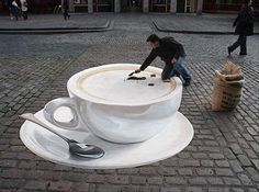 Amazing Chalk Street Art Dump A Day Amazing 3D Street Chalk Art- Cappuccino - I really wish I could do this!