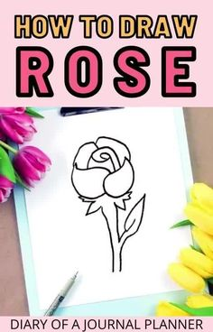 Draw a rose like a pro with this simple step-by-step rose doodle guide for bullet journal doodles! #bulletjournaldoodles #drawing #drawingflowers #howtodraw Easy Flower Drawings, Easy Doodles Drawings, Flower Drawing Tutorials, Easy Doodle Art, Doodle Ideas, Drawing Flowers, Simple Doodles, Drawing Ideas, Rose Outline Drawing
