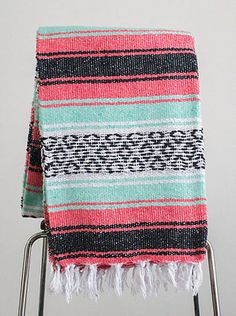 Mexican Blanket Premium Mint & Coral Yoga Blanket, Hand Woven, Sarape Throw  Free Shipping!!!