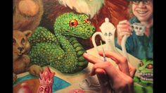 """The Madness Time Lapse Video by Amy Kollar Anderson. From my series, """"Wasp in a Wig: Paintings Inspired by the Writings of Lewis Carroll."""" Here, the Mad Hatter entertains a different kind of tea party! #aliceinwonderland, #madhatter, #cheshirecat, #snake, #bear, #eagle"""