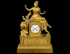 Empire gilt bronze mantel clock with movement by Japy Freres, France c. 1800