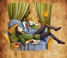 Logyn - Just you and me by RamylieDouglas on DeviantArt Loki Marvel, Loki Thor, Tom Hiddleston Loki, Loki Art, Avengers Art, Loki And Sigyn, Loki Laufeyson, Loki Mythology, Loki Wallpaper