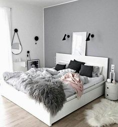 Sublime Useful Tips: Minimalist Living Room Tv Fire Places minimalist home with kids clutter.Minimalist Bedroom Scandinavian Grey minimalist home office decoration.Minimalist Home Office Layout. Dream Bedroom, Home Bedroom, Warm Bedroom, Bedroom Green, Bedroom Black, Light Gray Bedroom, Fantasy Bedroom, Black And White Bedroom Teenager, Bedroom Small