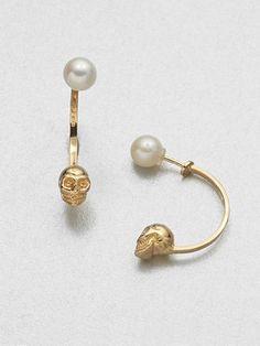 Delfina Delettrez Skull and Pearl Earrings