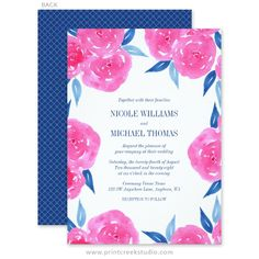 Elegant hot pink and navy blue wedding invitations. Beautiful watercolor flowers and leaf border, with a modern pattern on the back.