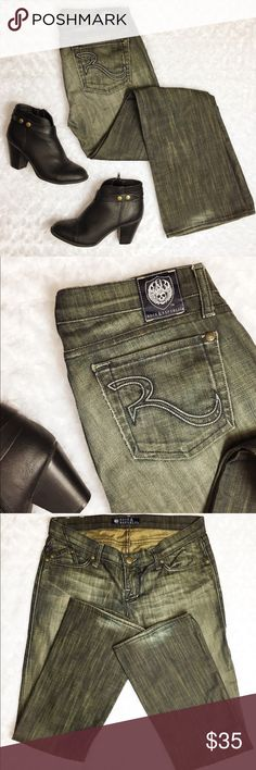 "Rock & Republic Jaguar Rust Wash Jeans Rock & Republic Jaguar Rust Wash Jeans. Good used condition with slight signs of wear. Small color washout on right knee (see picture) these jeans are perfectly unique and ready for a new fun forever home! Flat waist measures 16"", inseam is 31"". Open to offers Rock & Republic Jeans Boot Cut"
