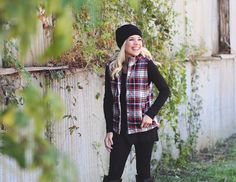 And our obsession with plaid continues with our new puffer vest!