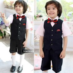 5 Piece Black Dress Vest Shorts Suits Outfits Clothing for Boys SKU-132071