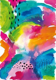 Feeling Light print by Sweet William. Like an abstract fruit salad landscape. And so happy.