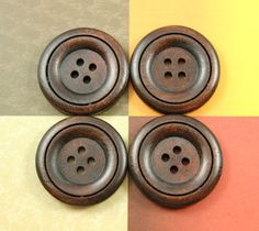 Wood Buttons with Elegant Ring Border and Recessed Center.  1.18 inch, 10 pcs. $6.00, via Etsy.