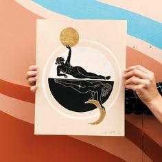 My Moon and Sun block print linocut female astrology feminist astrological black and white min Linocut Prints, Art Prints, Block Prints, Sun Illustration, Linoleum Block Printing, Sun Art, Minimalist Art, Art Sketchbook, Branding