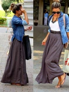 long skirt,white top & jacket on it with flats.