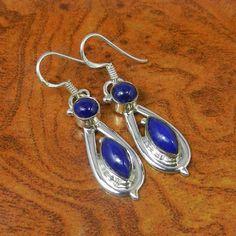 925 SOLID STERLING SILVER LAPIS 5.60g DESIGNER  EARRING SJER0097 #Handmade #Earring