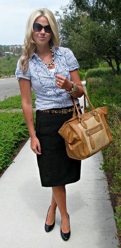 Black skirt with light blue seersucker striped short sleeve top
