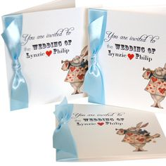 Alice in Wonderland Wedding Invitations in Alice dress blue.png (500×500)