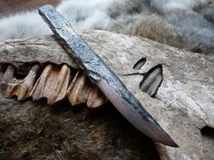 Another Flotsam kiridashi .  Again scavenged from the Jurassic Coast ,a manky rusty mild steel bar converted into a simple but highly organic textured cutter. As per usual the blade was etched in a copper ferric solution