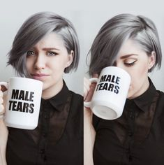 Love the coffee cup and the hair cut!