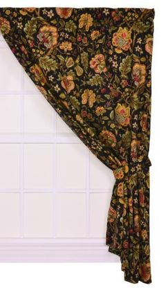Imperial Dress Jacobean Floral 50 Inch By 84 Inch Lined Curtain Panel With